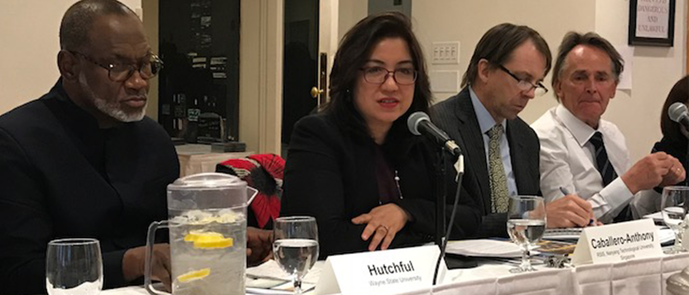 "Head of NTS Centre, Associate Prof Mely Caballero-Anthony, presented the highlights of Report by the Global Reflection Group (GRG)on ""Providing Security in Times of Uncertainty"" at the United States Institute of Peace (USIP), Washington and at the Friedrich Ebert Stiftung (FES) Office in New York"
