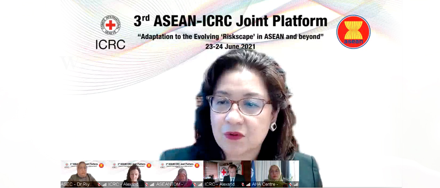 """Head of NTS. Centre, Prof Mely Caballero-Anthony, joins panel on ASEAN and Complex Emergencies at the 3rd ASEAN-ICRC Joint Platform on """"Adaptation to the Evolving 'Riskscape' in ASEAN and beyond"""", held virtually on 24 June 2021."""