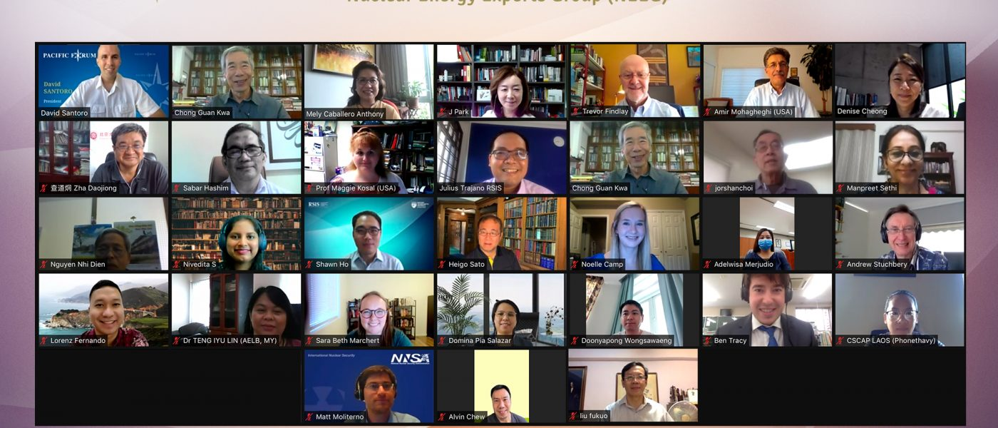 CSCAP Singapore, RSIS NTS Centre and Pacific Forum (US CSCAP) co-organised the annual meeting of the CSCAP-Nuclear Energy Experts Group held virtually on 28-29 September 2021.