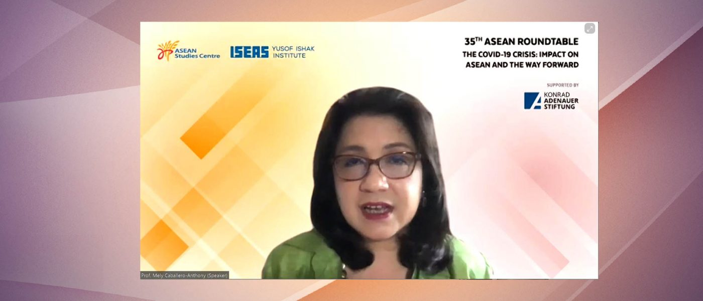 """Prof Mely Caballero-Anthony, speaking at the 35th ASEAN Roundtable webinar on """"The COVID-19 Crisis: Impact on ASEAN and the Way Forward"""", held on 21 October 2020."""